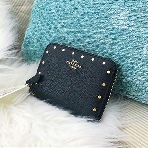 Coach Black Stud zip around wallet- NWT